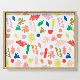 Shapes fun minimal bright colorful botanical leaves and geometric shapes kids room decor Serving Tray