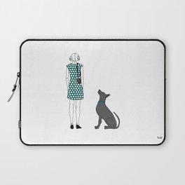Photographer girl and dog Laptop Sleeve