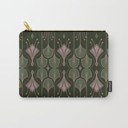 Paris - Green Art Deco Flower Leaves Pattern Carry-All Pouch