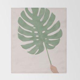 Monstera Leaf Throw Blanket