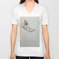 surfing V-neck T-shirts featuring SURFING by Katyb