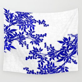 BLUE AND WHITE  TOILE LEAF Wall Tapestry