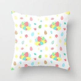 Colorful Easter Egg and Easter Flower Pattern Throw Pillow