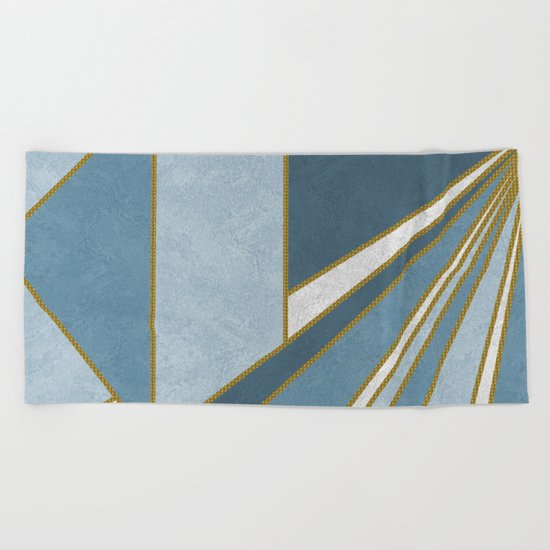 Travel to nowhere in blue (abstract geometric marble) Beach Towel