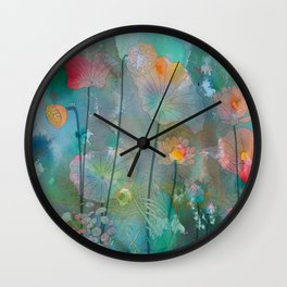 Water Lilies illustration watercolor painting  Wall Clock
