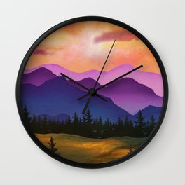 Mountains - Painting - Silhouette - Trees - Pine Trees. Little sweet moments. Wall Clock