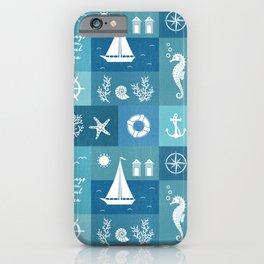 Vintage nautical items & sea creatures blue board iPhone Case