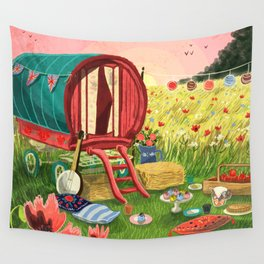 Gypsy Caravan at Sunset Wall Tapestry
