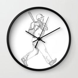 Baseball Player Batting Doodle Wall Clock