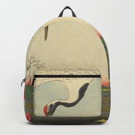 Crane and Cherry Blossom Ukiyoe Landscape Backpack