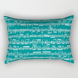 Sheet Music // Teal Rectangular Pillow