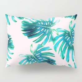 Monstera deliciosa - tropical pink Pillow Sham