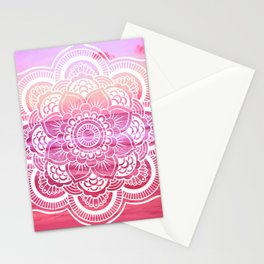 Water Mandala Hot Pink Fuchsia Stationery Cards