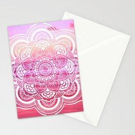 Water Mandala Hot Pink Fuchsia Stationery Cards