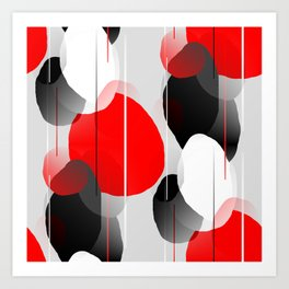 Modern Anxiety Abstract - Red, Black, Gray Art Print