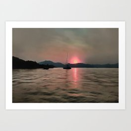 Sunset Shores In Pink And Grey Art Print