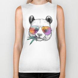 Panda Graphic Art Print. Panda in glasses Biker Tank