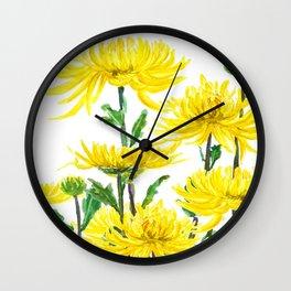 Yellow Chrysanthemums Wall Clock