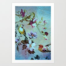 Oriental blossoms and birds Art Print