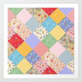 Happy Cottage Diamond Patchwork Quilt Art Print