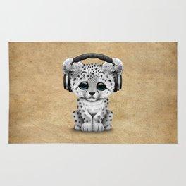 Cute Snow leopard Cub Dj Wearing Headphones Rug