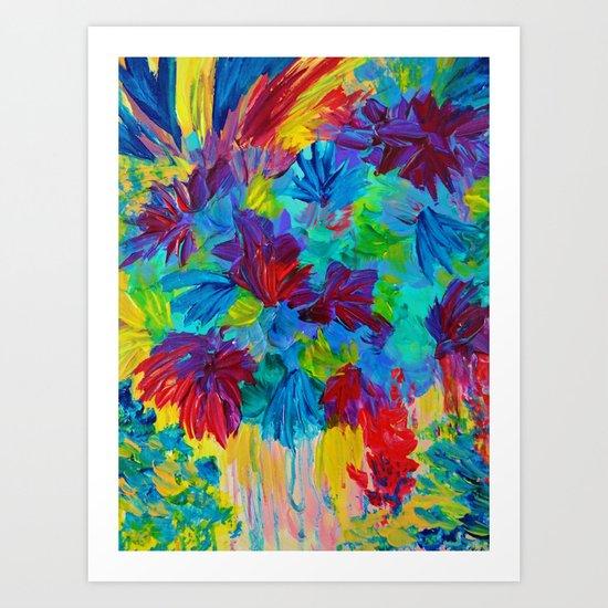 TUTTI FRUTTI - Fruit Punch Floral Bouquet Flowers Bright Bold Colorful Painting Romantic Rainbow Art Print