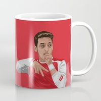 arsenal Mugs featuring Mesut Ozil by siddick49