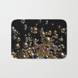 Elegant Abstract Geometry Explosion -Gold and Silver,Black- Bath Mat