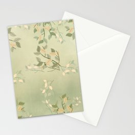 Sage Green Watercolor Woodland Leaves Stationery Cards