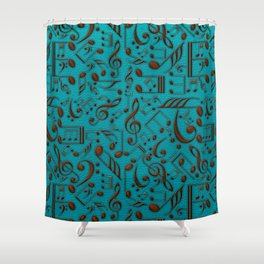 Faux Leather Embossed Musical notes on teal Shower Curtain