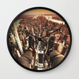 flying over manhattan Wall Clock