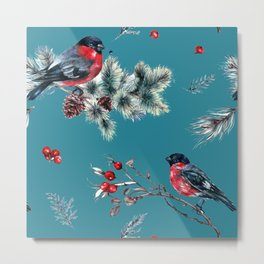 Winter Bullfinch Scene Gold Glitter Merry Christmas Metal Print