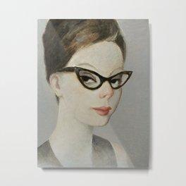 Young woman wearing retro cat eye glasses Metal Print