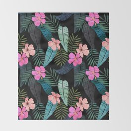 Island Goddess Tropical Black Throw Blanket
