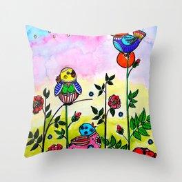 EARLY MORNING BIRDS Throw Pillow