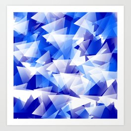 triangles in shades of blue Art Print
