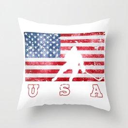 Team USA Ice Hockey on Olympic Games Throw Pillow