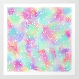 Artsy Colorful Abstract Paint Daub Polka Dots Art Print