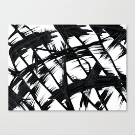 Whipped Into Motion Black On White Canvas Print