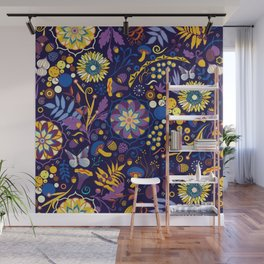 Ripe autumn – purple and yellow Wall Mural