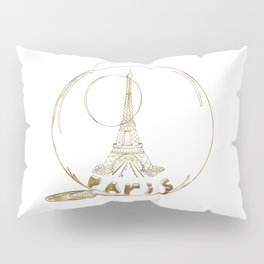 Golden Paris . Eiffel tower . Art Pillow Sham
