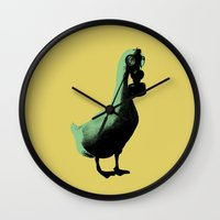 duck Wall Clocks featuring duck by Panic Junkie
