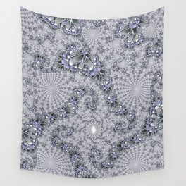 Gray Fractal Spirals Wall Tapestry