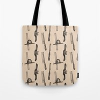 tool Tote Bags featuring Tool Pattern by Jessica Roux