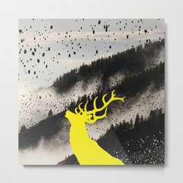 Oh Deer Yellow Metal Print