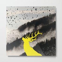 Oh Deer Yellow Metal Print