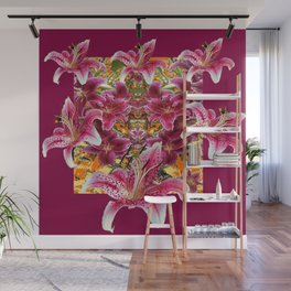 BURGUNDY STAR GAZER LILY FLOWER  ART Wall Mural