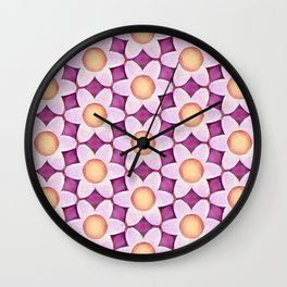 Chunky Flowers Peach Lavender Wall Clock