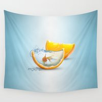 goldfish Wall Tapestries featuring Goldfish by Limited Motion