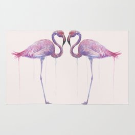 """Watercolor Painting of Picture """"Flamingo"""" Rug"""